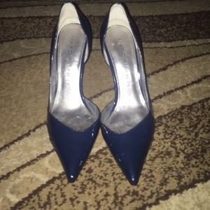 Blue Patent Leather Pumps by MARC FISHER